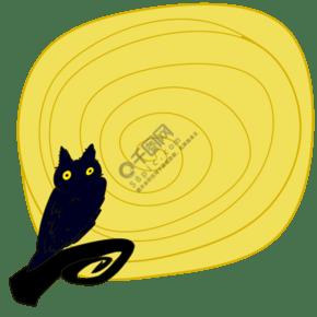 手绘年轮猫头鹰边框插画