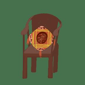 褐色的木椅子插画