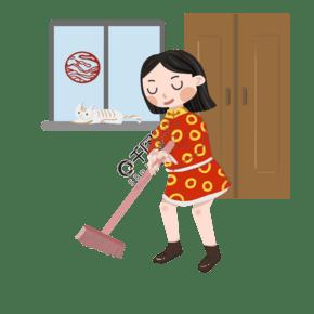 新春人物掃地插畫