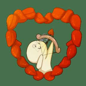 心形玫瑰花瓣插画