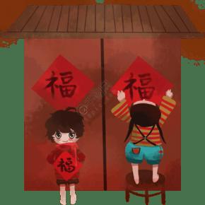 小孩貼福字賀喜新年