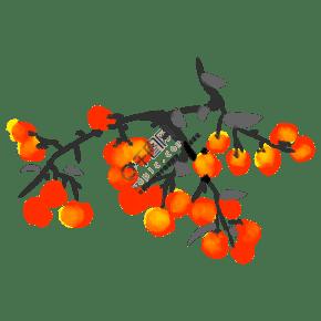 手绘水墨黄色樱桃