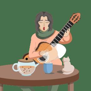 彈吉他的少女卡通插畫