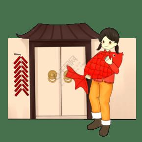 新年懷抱錦鯉的小女孩
