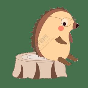 手绘刺猬萌宠插画