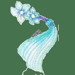 卡通手繪藍色花卉飾品插畫