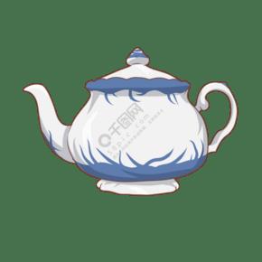 卡通手绘古风水壶插画