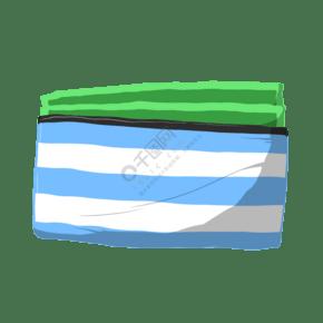卡通手繪藍色條紋小包插畫
