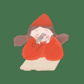 紅衣可愛女孩看書學習