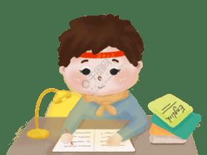 奮戰考試學習男孩挑燈看書