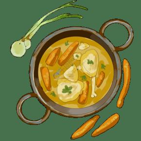 手繪雞肉火鍋插畫
