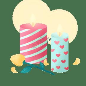 情人节浪漫蜡烛和玫瑰PNG免抠素材