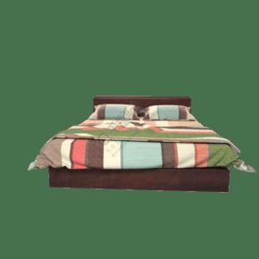 木质卧室花纹双人床