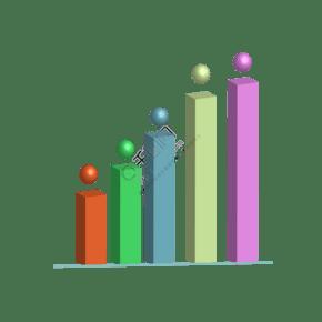 商务矢量数据上升立体柱状图分析图