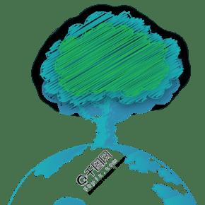植樹節藍綠色地球樹03涂鴉款