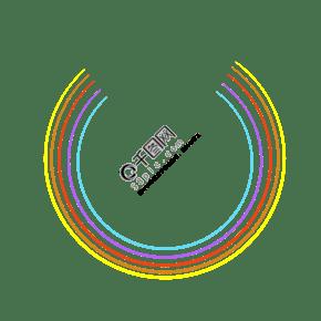 彩虹渐变线框不规则开口圆框