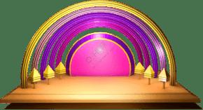 618彩色彩虹形状立体舞台效果c4d可编辑