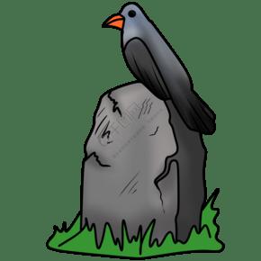 萬圣節墓碑上的黑鳥插畫