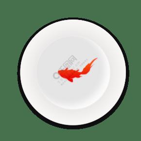 中国风古风白色瓷盘红色鲤鱼吉祥