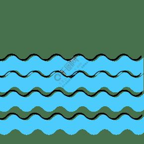 藍色手繪通用波浪線裝飾