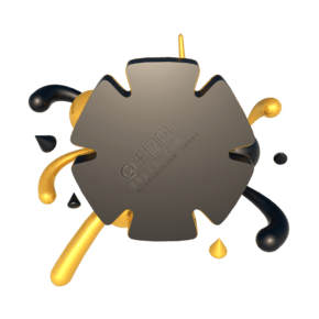 C4D立體幾何黑金舞臺背景裝飾元素