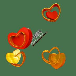 紅金立體心型C4D電商裝飾原創