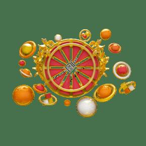 圓形紅金車輪形狀C4D電商裝飾元素