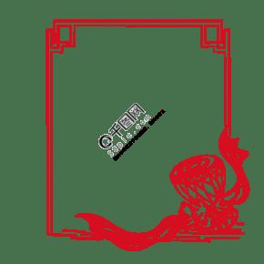 中式花纹民族鼓图框手绘插画