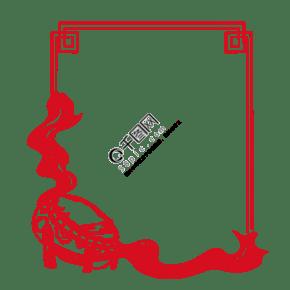 中式花纹大鼓飘带图框手绘插画