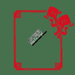 中式花纹拨浪鼓图框手绘插画
