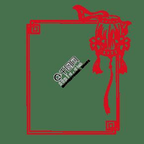 中式花纹腰鼓花纹图框手绘插画