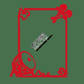 中式花纹鼓花纹手绘插画