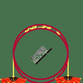 中式风格红色手绘边框