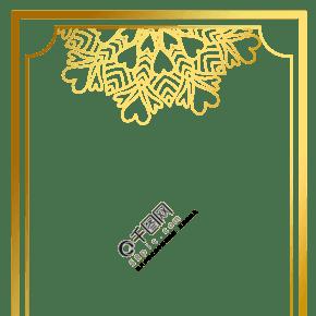 金色烫金边框多边形几何图案花边边框金色框框PNG