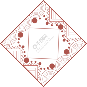 传统红色几何元素边框