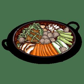 插畫類麻辣火鍋圖