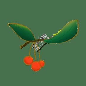 绿色叶子红果子原创手绘插画素材