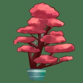 彩色植物盆栽元素