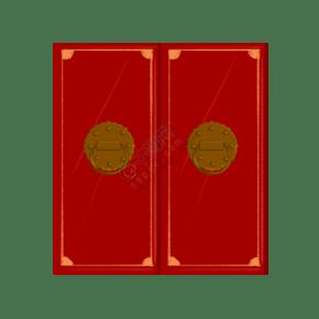紅色的大紅門手繪插畫