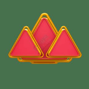 紅金三角板背景板C4D電商裝飾元素