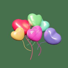 2.14情人节C4D多彩爱心气球免抠图元素