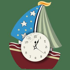 揚帆起航的可愛帆船鐘表