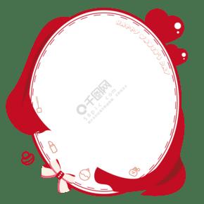 三八婦女節可愛正紅色紅綢愛心化妝鏡矢量邊框素材