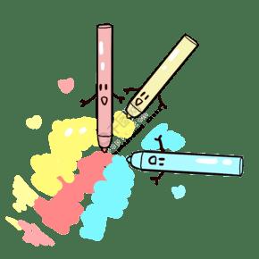 彩色的馬克筆手繪插畫