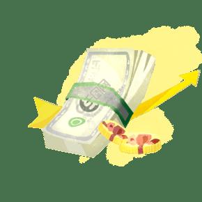 手绘金融钱币插画