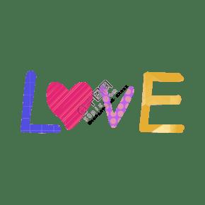 手繪情人節love字體插畫