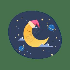矢量手绘卡通月亮