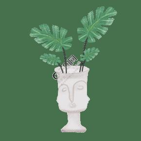 人头石膏花盆龟背叶绿植PNG图片