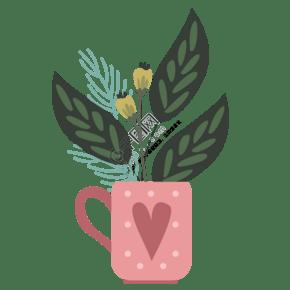 粉红色杯子盆景免抠图