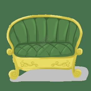 黄色手绘沙发座位元素